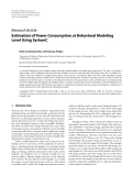 """Báo cáo hóa học: """"  Research Article Estimation of Power Consumption at Behavioral Modeling Level Using SystemC"""""""