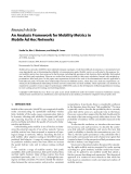 """Báo cáo hóa học: """"  Research Article An Analysis Framework for Mobility Metrics in Mobile Ad Hoc Networks"""""""