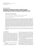 """Báo cáo hóa học: """"  Research Article Equalization of Multiuser Wireless CDMA Downlink Considering Transmitter Nonlinearity Using Walsh Codes"""""""