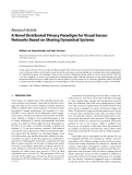 """Báo cáo hóa học: """"Research Article A Novel Distributed Privacy Paradigm for Visual Sensor Networks Based on Sharing Dynamical Systems"""""""