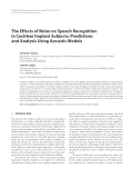 "Báo cáo hóa học: "" The Effects of Noise on Speech Recognition in Cochlear Implant Subjects: Predictions and Analysis Using Acoustic Models"""