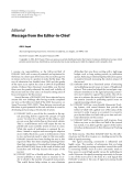 """Báo cáo hóa học: """"Editorial Message from the Editor-in-Chief Ali H. Sayed"""""""