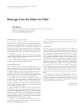 """Báo cáo hóa học: """"  Message from the Editor-in-Chief"""""""