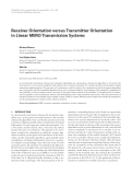 """Báo cáo hóa học: """" Receiver Orientation versus Transmitter Orientation in Linear MIMO Transmission Systems"""""""