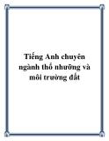 Tiếng Anh chuyên ngành thổ nhưỡng và môi trường đất - Nguyễn Thị Minh Nguyệt