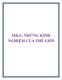 M&A: NHỮNG KINH NGHIỆM CỦA THẾ GIỚI