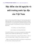 Đặc điểm tài nguyên và môi trường nước lục địa của Việt Nam