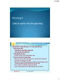 Chương 4: Quản lý nguồn vốn của ngân hàng