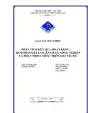 Phân tích kết quả hoạt động kinh doanh tại ngân hàng nông nghiệp và phát triển nông thôn Sóc Trăng