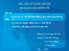 Đề tài: Trình bày các chế độ hoạt động trạm-chủ trong thư tín điện tử
