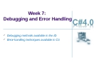 Week 7: Debugging and Error Handling