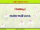 Chương 2: Ngôn ngữ Java