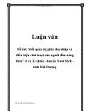 """Mối quan hệ giữa thu nhập và điều kiện sinh hoạt của người dân nông thôn"""" ở xã Ái Quốc - huyện Nam Sách - tỉnh Hải Dương"""