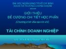 Tài chính doanh nghiệp - GV Trần Nguyễn Minh Hải