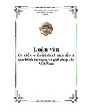 Cơ chế truyền tải chính sách tiền tệ qua kênh tín dụng và giải pháp cho Việt Nam
