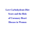 Low-Carbohydrate-Diet Score and the Risk of Coronary Heart Disease in Women