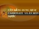 đề tài: CÂN BẰNG DUNG DỊCH CARBONATE  VÀ ĂN MÒN