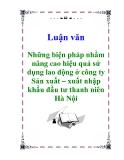 Luận văn: Những biện pháp nhằm nâng cao hiệu quả sử dụng lao động ở công ty Sản xuất – xuất nhập khẩu đầu tư thanh niên Hà Nội
