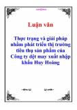 Luận văn: Thực trạng và giải pháp nhằm phát triển thị trường tiêu thụ sản phẩm của Công ty dệt may xuất nhập khẩu Huy Hoàng