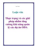 Luận văn: Thực trạng và các giải pháp nhằm tăng cường khả năng quản lý các dự án ODA