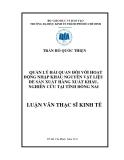 Luận văn: Hoàn thiện công tác quản lý hải quan đối với hoạt động nhập khẩu NVL tại Đồng Nai