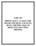 Luận văn: Phòng ngừa và hạn chế rủi ro tín dụng tại Ngân hàng Thương mại Cổ phần Sài Gòn Công thương