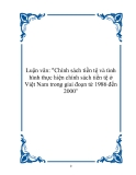"""Luận văn: """"Chính sách tiền tệ và tình hình thực hiện chính sách tiền tệ ở Việt Nam trong giai đoạn từ 1986 đến 2000"""""""