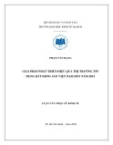Luận văn: Giải pháp phát triển hiệu quả thị trường tín dụng bất động sản Việt Nam đến năm 2015