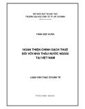 Đề tài: Hoàn thiện chính sách thuế đối với nhà đầu tư nước ngoài tại Việt Nam