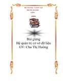 Bài giảng Hệ quản trị cơ sở dữ liệu - Chu Thị Hường