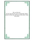 Báo cáo khoa học: VấN Đề GIớI TRONG QUYếT ĐịNH PHáT TRIểN KINH Tế NÔNG Hộ ở HUYệN LƯƠNG SƠN, TỉNH HOà BìNH