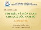 Tiểu luận: Tìm hiểu về món canh chua cá lóc Nam Bộ
