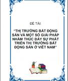 Thị trường bất động sản và một số giải pháp nhằm thúc đẩy sự phát triển thị trường bất động sản ở Việt Nam