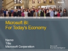 Microsoft BI : For Today's Economy