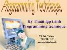 Programming Teaching- kỹ thuật lập trình