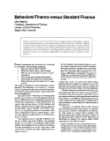 Behavioral Finance vesus Srandard Finance