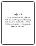"""Luận văn:"""" Vai trò của nhà nước đối  với CNH-HDH Đài Loan trong quá trình hội nhập kinh tế quốc tế (thời kỳ 1961 - 2003) - Bài học kinh nghiệm và khả năng vận dụng vào Việt Nam"""""""