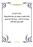 LUẬN VĂN: Đảng lãnh đạo xây dựng và phát triển quan hệ Việt Nam - ASEAN từ năm 1995 đến năm 2005