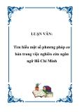 LUẬN VĂN:  Tìm hiểu một số phương pháp cơ bản trong việc nghiên cứu ngôn ngữ Hồ Chí Minh