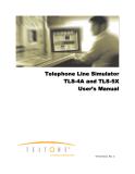 Telephone Line Simulator TLS-4A and TLS-5X User's Manual