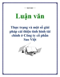 Luận văn: Thực trạng và một số giải pháp cải thiện tình hình tài chính ở Công ty cổ phần Sao Việt