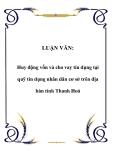 LUẬN VĂN:  Huy động vốn và cho vay tín dụng tại quỹ tín dụng nhân dân cơ sở trên địa bàn tỉnh Thanh Hoá