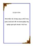 Luận văn tốt nghiệp: Hoàn thiện việc sử dụng công cụ thuế trong quản lý nhà nước đối với doanh nghiệp công nghiệp ngoài quốc doanh ở Việt Nam