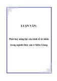 Luận văn tốt nghiệp:  Phát huy năng lực của kinh tế tư nhân trong ngành thủy sản ở Kiên Giang