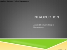 Applied Software Project Management - INTRODUCTION