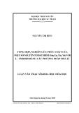Luận văn: TỔNG HỢP, NGHIÊN CỨU PHỨC CHẤT CỦA MỘT SỐ NGUYÊN TỐ ĐẤT HIẾM (Sm, Eu, Tm, Yb) VỚI L – TYROSIN BẰNG CÁC PHƯƠNG PHÁP HÓA LÍ
