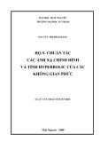Luận văn: HỌ S- CHUẨN TẮC CÁC ÁNH XẠ CHỈNH HÌNH VÀ TÍNH HYPERBOLIC CỦA CÁC KHÔNG GIAN PHỨC