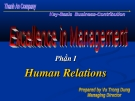 Excellence in managenment - Phần I Human Relations