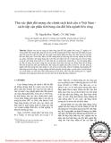 """Đề tài """"  Thử xác định đối tượng cho chính sách kích cầu ở Việt Nam cách tiếp cận phân tích bảng cân đối liên ngành liên vùng """""""