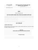 Lệnh Số: 04/2012/L-CTN CHỦ TỊCH NƯỚC CỘNG HÒA XÃ HỘI CHỦ NGHĨA VIỆT NAM